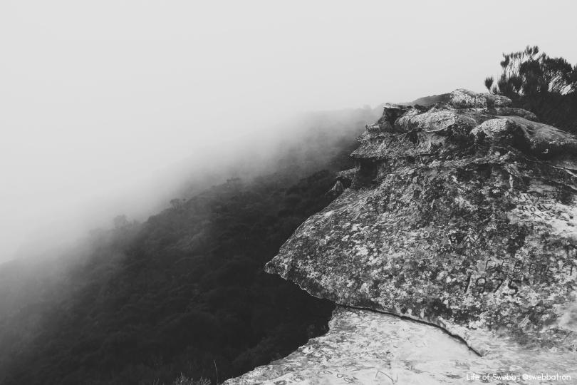 The Blue Mountains enveloped in fog