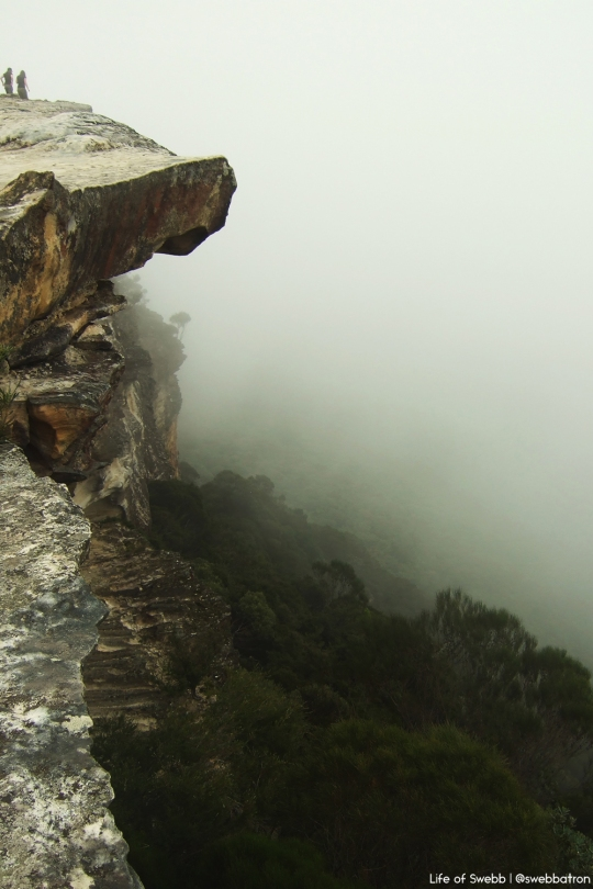 The Blue Mountains enveloped in fog